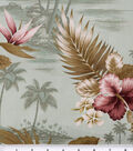 Tropical Shirting Fabric 43\u0022-Sage and Hibiscus