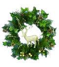Maker\u0027s Holiday Reindeer, Pinecone, Berries & Leaves Wreath