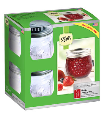 Ball Collection Elite Design Series 4 pk 8 oz. Jam Jars-Clear