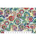 Modern Premium Cotton Print Fabric 43\u0027\u0027-Dark Modern Flowers