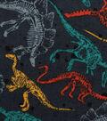 Novelty Cotton Fabric-Dinosaur Skeletons