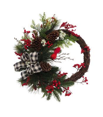 Blooming Holiday 24'' Berry, Cardinal & Buffalo Check Bow Wreath