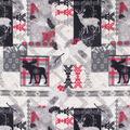 Anti-Pill Plush Fleece Fabric-Larson Deer Aztec Patch