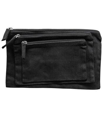 Black Canvas Zipper Pouch Bags 3pk