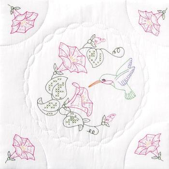"Stamped White Quilt Blocks 18""X18"" 6/Pkg-Hummingbird&Morning Glories"