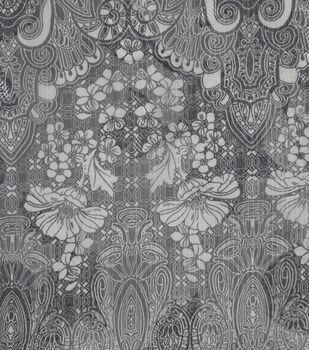 Silky Chiffon Fabric-Gray & Ivory Regal