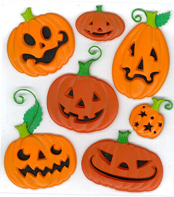 Jolee's Boutique Dimensional Stickers-Funny Pumpkins