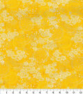 Asian Inspired Cotton Fabric 44\u0022-Yellow Circle Floral Met