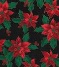 Christmas Cotton Fabric-Poinsettias on Black