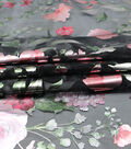 Casa Embellish Dahlia Organza Fabric-Floral Print on Black