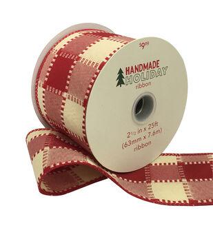 Handmade Holiday Christmas Ribbon 2.5''x25'-Ivory & Red Checks