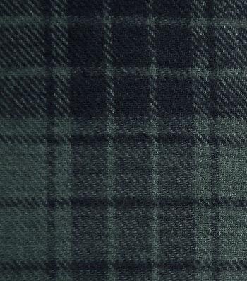 Cotton Shirting Fabric 42''-Green & Black Plaid