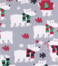 Blizzard Fleece Fabric-Polar Bear with Scarves