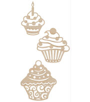 Kaisercraft Wood Flourishes 3Pk-Cupcakes, , hi-res