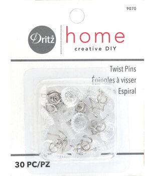 Dritz Upholstery Decorative Twist Pins 12mm 30/Pkg-Clear