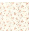 Delilah Peach Floral Stripe Wallpaper Sample
