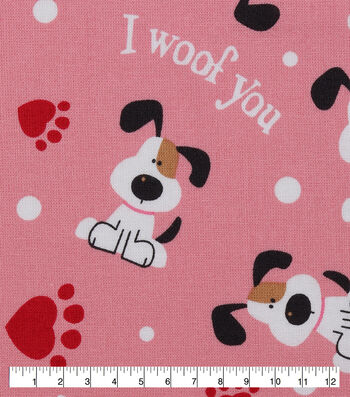 Valentine's Day Cotton Fabric-I Woof You on Pink
