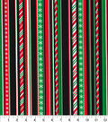 Christmas Cotton Fabric-Glitter Candy Canes & Holiday Stripes