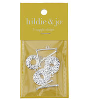 hildie & jo 5 Pack Textured Shiny Silver Toggle Clasps, , hi-res