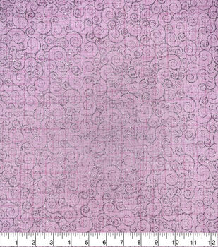 Valentine's Day Cotton Fabric-Glitter Scrolls on Pink