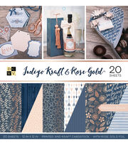 Park Lane Premium Stack Printed & Kraft Cardstock-Indigo Kraft & Rose Gold, , hi-res