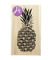 Hampton Art 1.5''x2.5'' Wood Mounted Rubber Stamp-Pineapple, , hi-res
