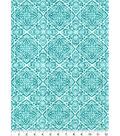 Luxe Flannel Fabric -Teal Boho Stamp