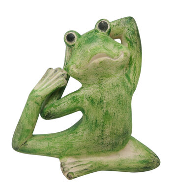 Hello Spring Gardening Resin Leg Behind Yoga Frog-Green