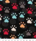 Blizzard Fleece Fabric 59\u0022-Paw Prints And Dots