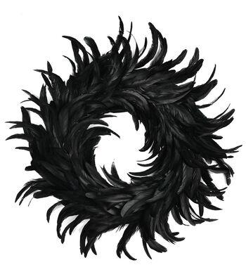 """Coctail Feather Wreath 15"""" 1/Pkg-Black"""