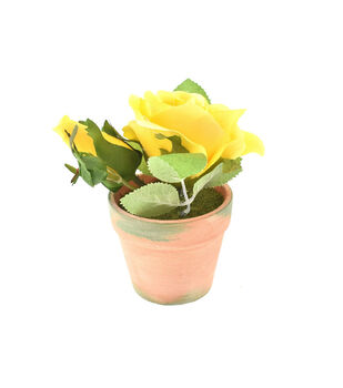 Fresh Picked Spring 5'' Roses in Clay Pot-Yellow