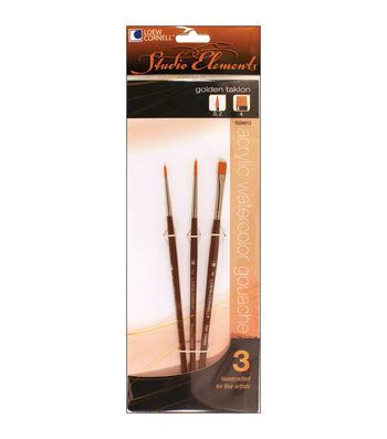 Loew-Cornell Studio Elements Round & Flat Golden Taklon Brushes