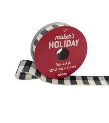 """Maker's Holiday Buffalo Check Ribbon 7/8""""x9'-Black Ivory Check"""