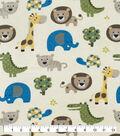 Snuggle Flannel Fabric-Safari Zoo Animals Yellow