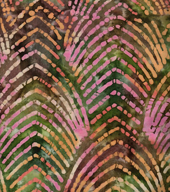 Shirting Cotton Fabric-Pink Arches on Olive