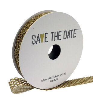 "Save the Date 5/8"" x 15ft Ribbon-Textured Gold Glitter"