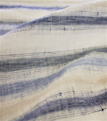 Linen Fabric 52''-Blue & Natural Stripes