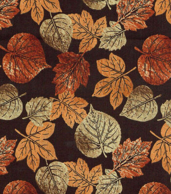 "Harvest Cotton Fabric 43""-Rustic Leaves"