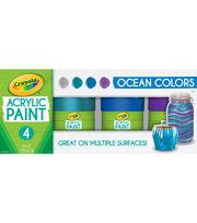 Crayola Acrylic Paint Set 4oz 4/Pkg-Ocean, , hi-res
