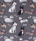 Blizzard Fleece Fabric-Multi Colored Dogs on Gray