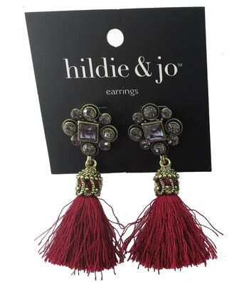 hildie & jo 0.13''x0.75'' Antique Gold Earrings-Red Tassel