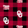 Oklahoma Sooners Fleece Fabric-Buffalo Plaid