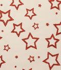 Nylon Mesh Fabric-Red Glitter Stars