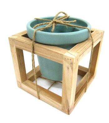 Hello Spring Gardening Pot with Wood Frame-Blue