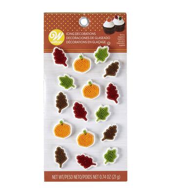 Wilton 16 pk Pumpkin & Leaf Royal Icing Decorations