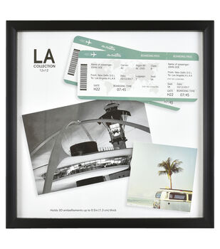 LA Collection Shadow Box Frame 12''x12''-Black