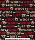 Blizzard Fleece Fabric -Spotted Pup Words