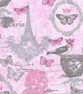 Snuggle Flannel Fabric -Pink Feminine Paris