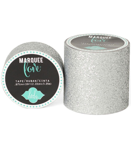 "Heidi Swapp Marquee Love Washi Tape 2"" Silver Glitter, 8', , hi-res, image 1"