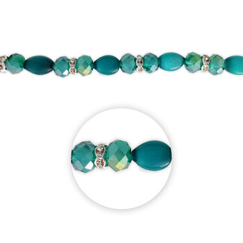 "Blue Moon Beads 7"" Crystal Strand, Cat's Eye with Metal Spacers, Teal"